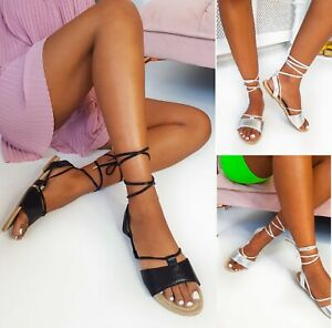 Números Elegante Moderno Mujer Cordones Sandalias Verano Detalles Playa De Tiras Plano FcTK1Jl
