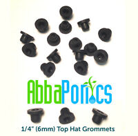 25pc 1/4 (6mm) Hydroponic Top Hat Grommets - Seals Hydroponic Tubing