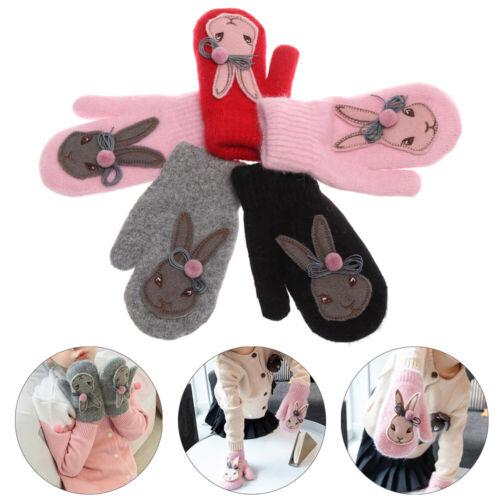 Kids Girls Winter Wool Mittens Winter Glove Cartoon Rabbit Gloves Rabbit Hair