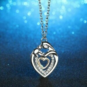 BABY-MOTHER-CHILD-LOVE-HEART-pendant-20-034-Sterling-Silver-925-necklace-female-mom