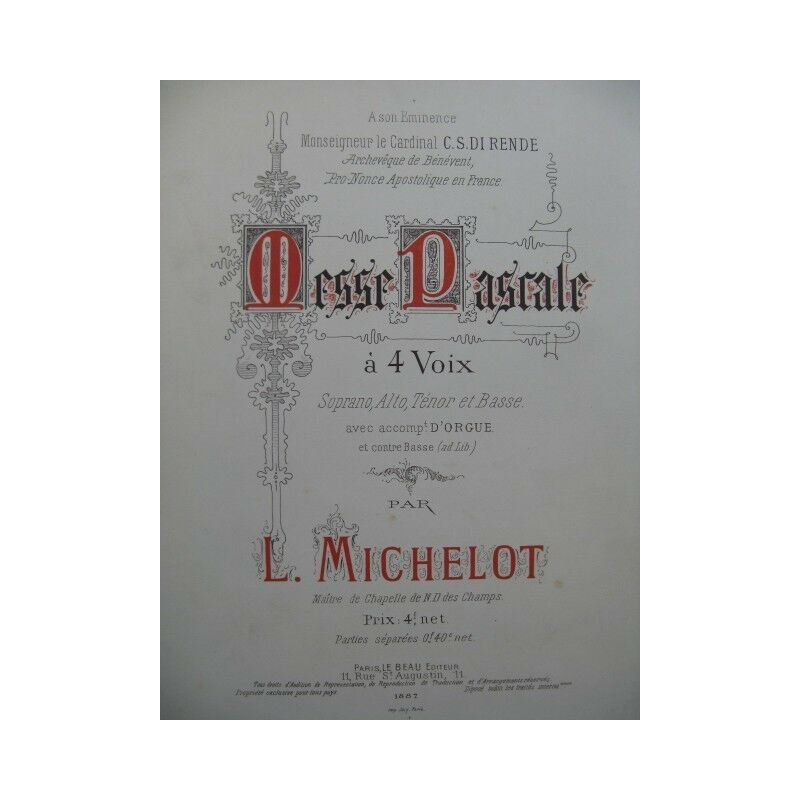 MICHELOT Lucien Messe Pascale Dédicace Chant Orgue 1887 partition sheet music sc