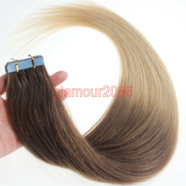 "New 16"" PU Seamless Skin Tape in Weft Ombre Remy Human Hair Extensions Straight"