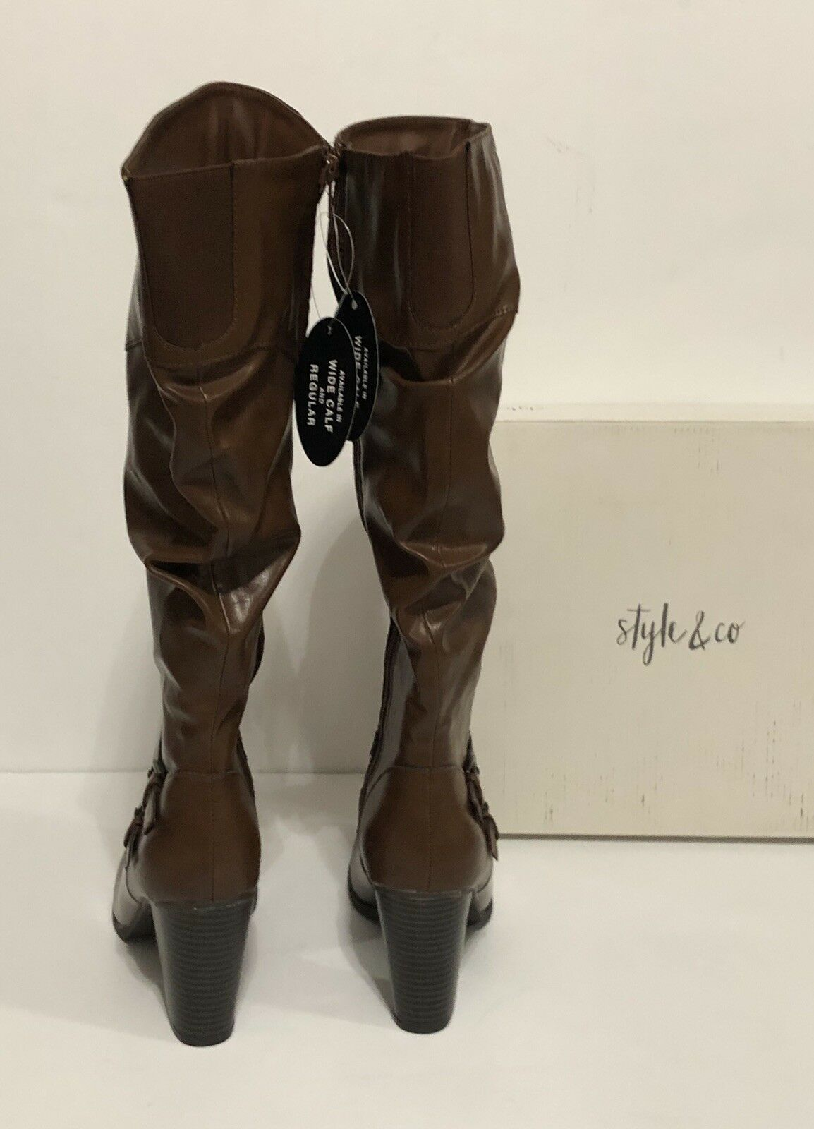 Style & Retail Co Sophiiep Ruched Stiefel Cognac 8.5M Retail & 79.50 3846c2