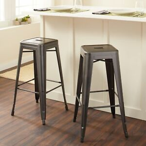 Incredible Details About 30 In Charcoal Grey Backless Metal Bar Stool Kitchen Chair Stackable Seat 2 Pcs Pdpeps Interior Chair Design Pdpepsorg