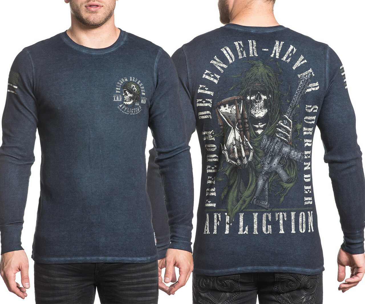 Authentic Affliction Never Surrender L S Thermal. Long Sleeve Lava American XC