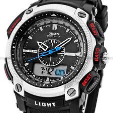 OHSEN Waterproof Digital LCD Alarm Date Military Rubber Mens Sport Watch
