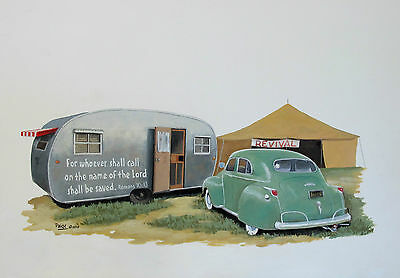 Vintage Spartanette Travel Trailer Camper Classic Dodge Sedan Christian RV ART
