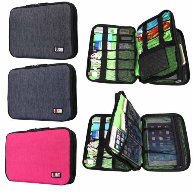 Large Double Layer Cable Organizer Bag Carry Case can put HDD USB Flash Drive