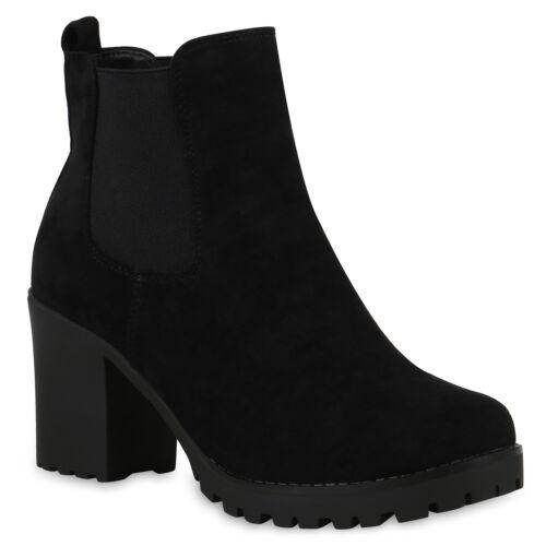 Damen Stiefeletten Chelsea Boots Schuhe Booties Profil 824919 Trendy Neu