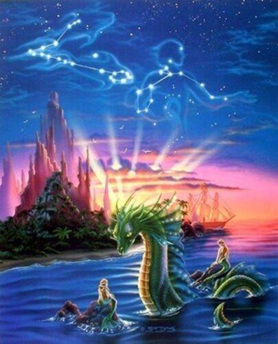 Lady Mermaid and Ocean Dragon Sue Dawe Fantasy Wall Decor Art Print Picture 8x10