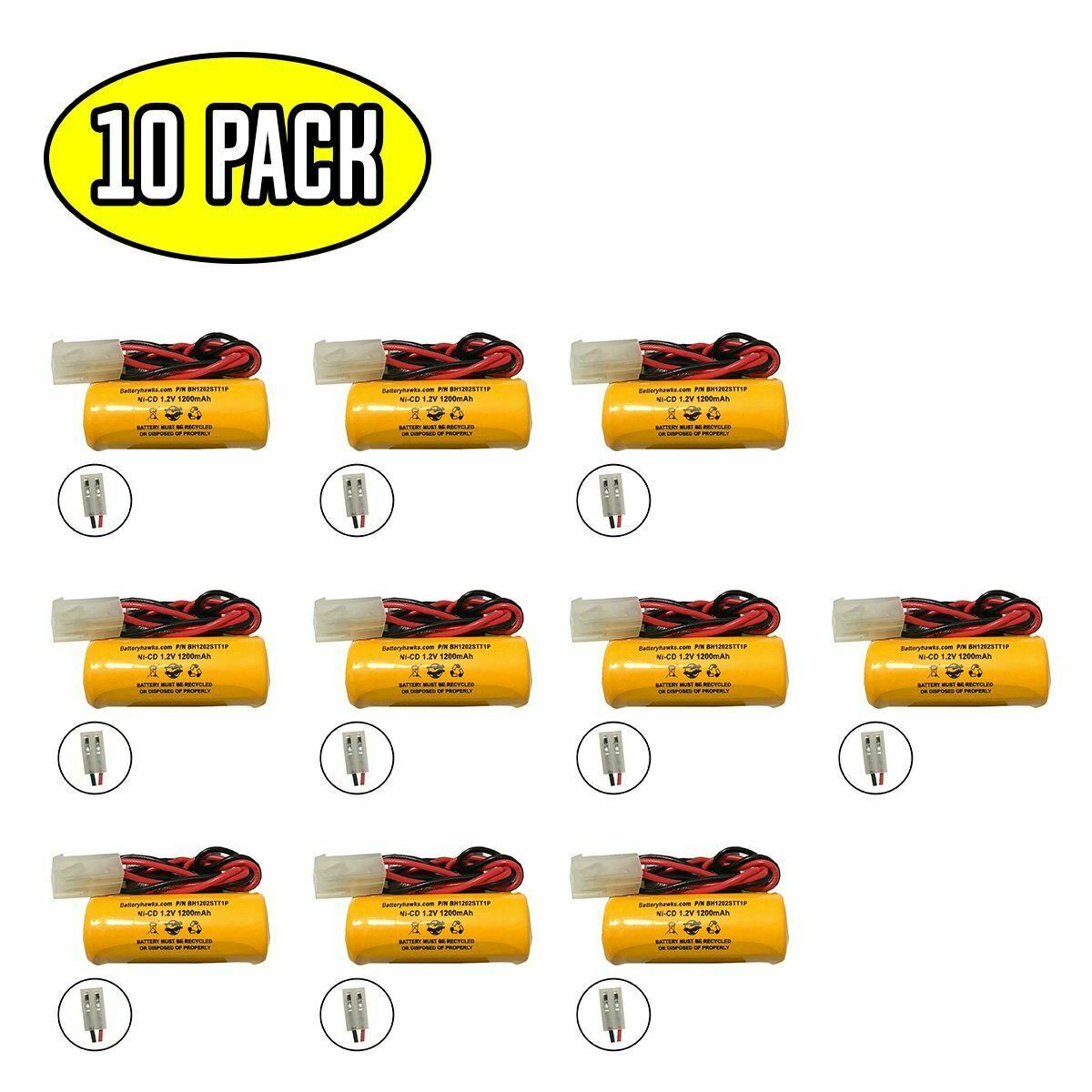 (10 pack) 1.2v 1200mAh Ni-CD Battery Pack Replacement for Emergency / Exit Light