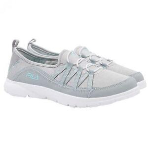 Fila Women's Grey White Mint Pilota Memory Foam Breathable Slip On Shoe Size 8.5