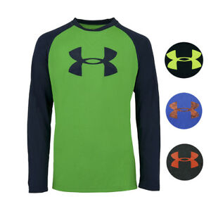 Under-Armour-Boys-039-Two-Tone-Big-Logo-L-S-T-Shirt