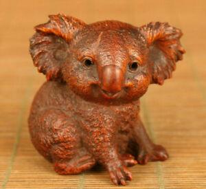 Japan-Antique-Boxwood-handcarved-miniature-statue-039-Koala-039-Edo-Era-est-19th