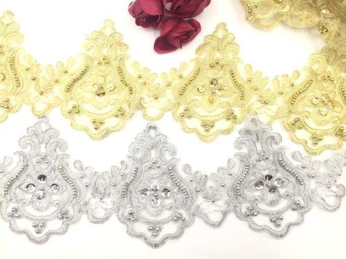 En dentelle de mariée Gold /& Silver brodé Pearl Trim ruban robe de mariée Bordure
