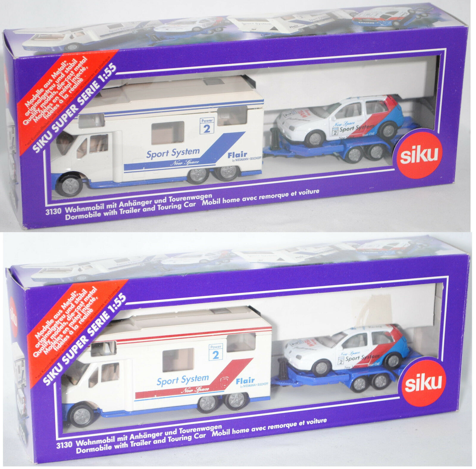 SIKU SUPER 3130 NIESMANN + Bischoff Flair 6700 ta alcôves camping-car & VOITURES 1 55