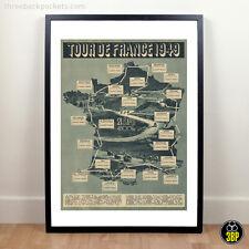 Large Tour de France 1949 Grand Tour Vintage Cycling Route Map Velo Poster Print