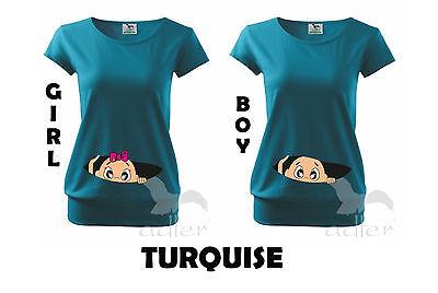Maternity Pregnancy T-shirt Top Funny PEEK-A-BOO baby shower gift Peeking Girl