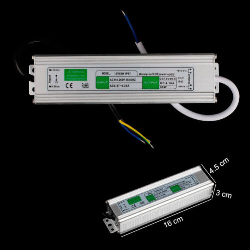 *20-200W LED Netzteil IP67 Transformator Netzgerät Trafo für LED Stripe DC12V
