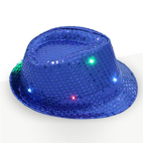 Blinkt LED Licht Blitz Deckel Paillette Schick Kleid Tanzen Party Flashing Hut