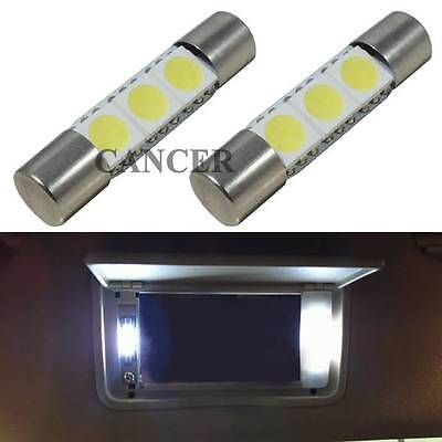 2pcs HID White Car Sun Visor Vanity Mirror Lights 29mm 3-SMD 6641 Fuse LED Bulbs