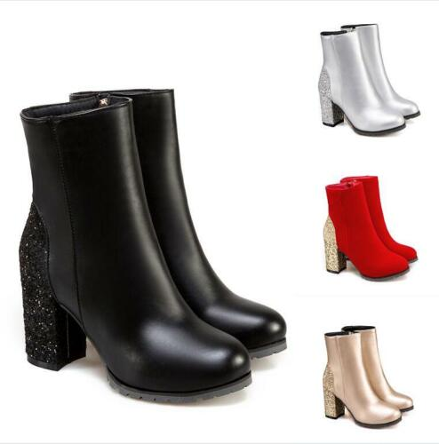 Women/'s Round Toe Sequins Zipper Block High Heels Ankle Riding Boots Size 32-50