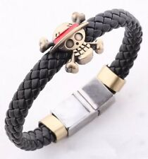 One Piece Skull & Crossbones Anime Bracelet Black PU Leather & Alloy US Seller