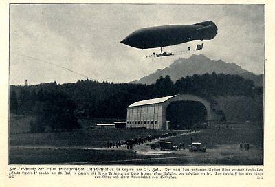Sammeln & Seltenes Responsible Eröffnung Der 1.schweizerischen Luftschiffstation In Luzern Am 24.juli Von 1910
