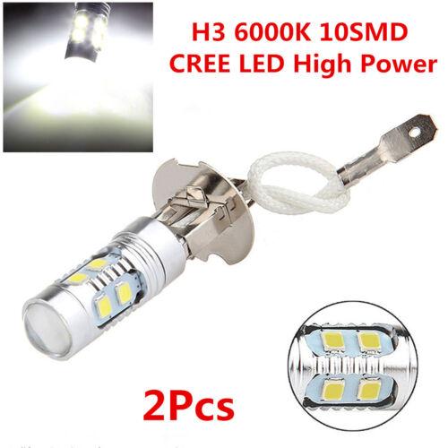 2Pcs Xenon White H3 6000K 6000LM 10SMD CREE LED Car Driving Fog DRL Signal Light