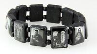 4030108a Black Wooden Block Bead Saints And Icons Celebrity Bracelet Stretch ...