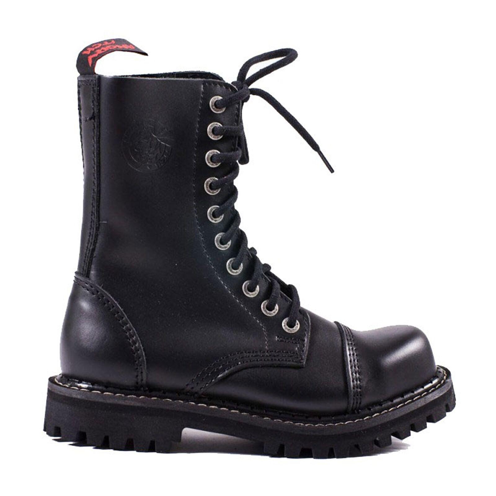 Grandes zapatos con descuento Angry Itch - 10 ojales Botas RANGERS NEGRO FABRICADO EN LA UE Cuero Auténtico