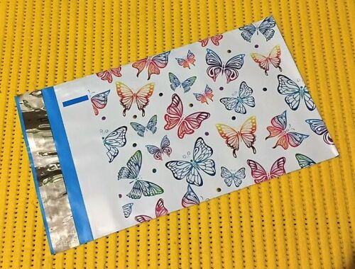 """BONUS STICKERS ~ Make Shipping Fun! 10 RAINBOW BUTTERFLY 6/"""" x 9/"""" Poly Mailers"""
