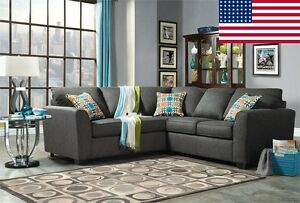 Made In USA Gray Fabric Sectional Sofa Transitional Style Living