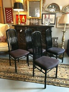 Vintage-4-Black-Lacquer-1990s-Dining-Chairs-Style-Like-Charles-Rennie-Mackintosh