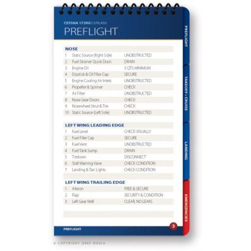 Cessna 172RG Cutlass Quick Reference Aircraft Checklist Book by Qref