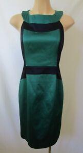 Cue-Size-14-Satin-Dress-Teal-amp-Navy