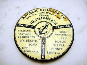 Vintage-Celluloid-Avertising-Mirror-Parisian-Anchor-Storage-Co-Chicago-Illinois