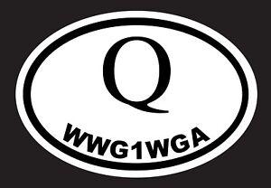 """Q ANON, WWG1WGA Trump, MAGA 5"""" x 3.5"""" Oval Vinyl Sticker Car Truck"""