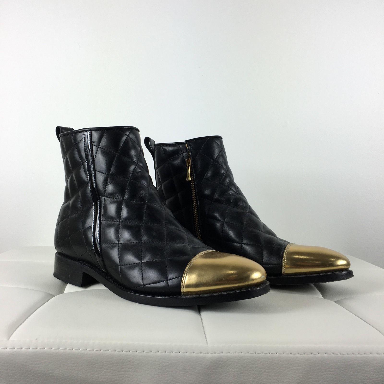 Pre-owned-Balmain mujer- Oro Toe Acolchado Cuero Botas para mujer- Pre-owned-Balmain 046e81