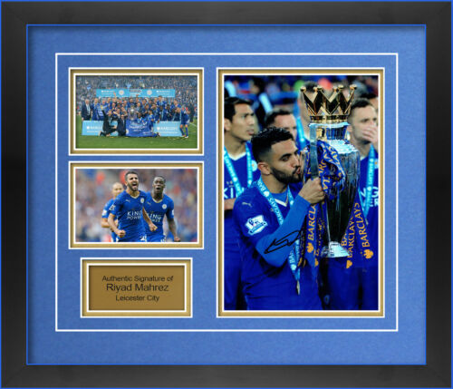 LEICESTER CITY RIYAD MAHREZ HAND SIGNED FRAMED PHOTO.
