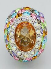 Oval Shape Multi Color Crystal Pave Chunky Stretch Ring