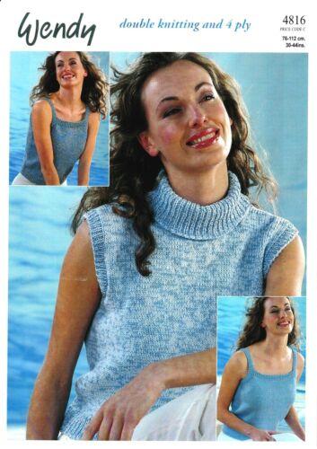 "Wendy Knitting Pattern 4816 Ladies Sleeveless Top Sweater 30-44/"" Cotton DK 4 Ply"