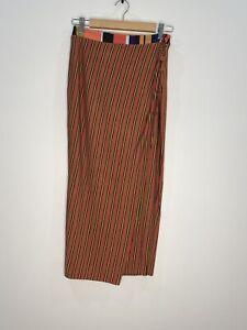 Tigerlily Striped Midi Skirt With Side Split Boho Size 8 EUC