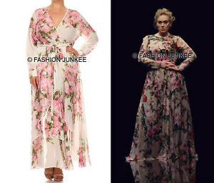 Details about OFF WHITE CHIFFON FLORAL MAXI Wrap DRESS Long Sleeve Flowy  PLUS SIZE 1X 2X 3X