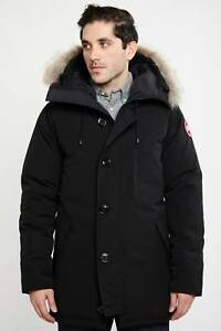 2050-CANADA-GOOSE-Mens-Black-Slim-DOWN-HOODED-PARKA-JACKET-WINTER-COAT-Size-L