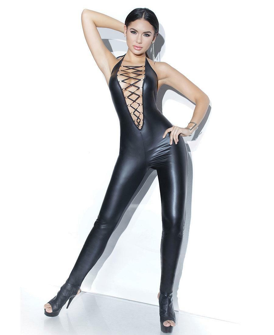Wet Look Halter Jumpsuit With Lace Up - Coquette D9344