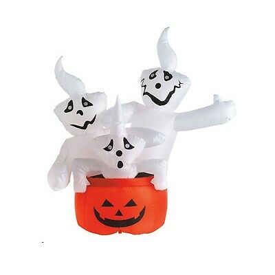 """Inflatable Lighted 3 Ghost w/ Pumpkin Halloween Decoration - 48"""" Tall"""