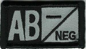 Gris Noir Sang Type Ab- Negative Patch hook & loop tape Crochet Fermeture Compat