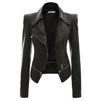 Womens Ladies Fitted Cropped Coat Vintage PU Leather Coats Biker Jacket XS - XL