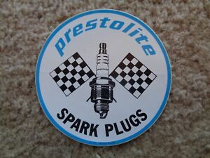 PRESTOLITE-SPARK-PLUGS-RACING-DECAL-STICKER-NEW-ORIGINAL-VINTAGE-4-ROUND